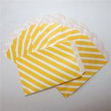 Papel amarillo con rayas ecológicas bolsas para tratar de fiesta