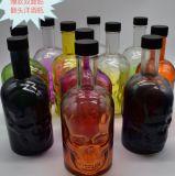 700ml Vente en gros de bouteilles de vodka en verre, conteneur de vin, crâne Design Package