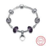 Un braccialetto d'acciaio dai 925 Sterling con monili Chain dei branelli di vetro del Palo dell'inserzione dell'anello i bei