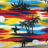 Los varios cortocircuitos de la camisa del Beachwear del árbol de coco imprimieron la tela del poliester del melocotón
