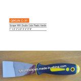 Dekoration-Lack-Befestigungsteil-Hand des Aufbau-C-27 bearbeitet Schaber mit doppelte Farben-Plastikgriff