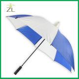 Automobil-geöffnete gerade Plastikschutzkappen-Non-Drip Regenschirm in der wasserdichten blauen Rohseide mit Gummigriff