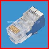 金によってめっきされるCat5e。 Metal及び8p8c UTP、FTP RJ45 Modular PlugsのCAT6 Modular Connector