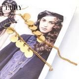 ディスク形のペンダントの鎖が付いているゴールド・トーンの女性の方法低下イヤリング