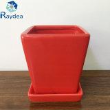 Potenciômetro de flor cerâmico vermelho do lustro para o plantador do jardim