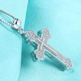 Real 925 Sterling Silver Cross Pendant Necklace com 18 polegadas 925 Sterling Silver Chain Necklace Jóias de alta qualidade