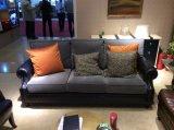 Tissu canapé en cuir avec de beaux oreillers