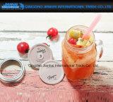 tarro de consumición de cristal del masón transparente retro 450ml con la maneta