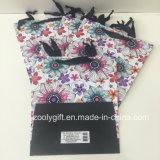 Sacs Shaped trapézoïdaux de cadeau de papier d'imprimerie de modèle de fleur UV