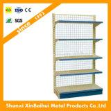 Estante de acero usado profesional del supermercado con el tablero trasero metálico