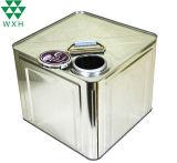 Haut une fermeture étanche 10L'étain d'huile en métal peut l'impression OEM couleur Or Peinture Huile de cuisson de conteneur de l'étain peut avec bec verseur