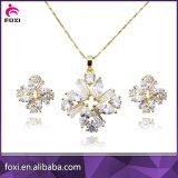 Fashion gold plating Bronze Zircónia cúbicos 925 conjuntos de jóias de prata