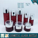 Bottiglie di vetro cosmetiche colorate rosse e vasi di vetro cosmetici con il prezzo all'ingrosso