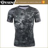 Homens novos do t-shirt da Rápido-Secagem camuflar do preto do verão