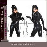 配達黒の革Clubwearボディ乳液のCatsuitの速いジャンプスーツ(TYLM77)