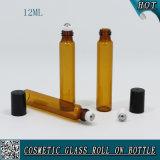 12ml Rodillo de vidrio ámbar en botella con rodillo de metal