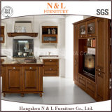 Gabinete de cozinha feito sob encomenda de madeira da madeira contínua do bordo da mobília da HOME do estilo do forro