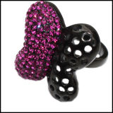 Женщин ювелирные изделия из нержавеющей стали с покрытием черного цвета в форме бабочки моды кольцо
