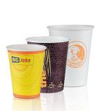Papel taza de café con la manija, desechable individual Copa de papel de pared