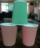 Ribbed бумажные кофейные чашки/таможня напечатали устранимые бумажные стаканчики кофеего стены пульсации PE изолированные 12oz с крышкой