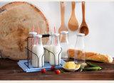 bottiglia per il latte di vetro di figura rotonda 400ml con il coperchio del metallo & la paglia, bottiglia della spremuta, bottiglia di acqua