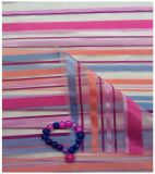 Tela do poliéster de Organza, listras coloridas para o vestuário