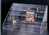Présentoir clair acrylique de crémaillère de support du CD DVD Btr-C2008