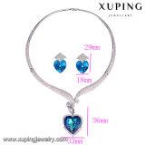 Set-33 joyería de moda rodio cristalino del corazón conjunto de joyería de boda en forma de