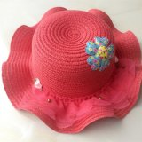 100% de papel Sombrero de paja, estilo de Falbala de la manera con el remiendo de flores y decoración de tul para la Infancia