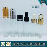 5ml-20ml rimuovono le bottiglie tubolari di vetro cosmetiche con il coperchio differente