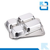 Hot Selling 4 Dividers en acier inoxydable Fast Food Lunch Tray avec couvercle Food Tray
