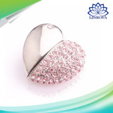 Cadeau promotionnel forme de coeur bijoux en métal Diamond lecteur Flash USB, Crystal Heart Flash Memory Stick USB