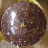 Bacia de lavagem de mármore vermelha do dissipador da pedra do dissipador