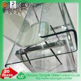 8-12mm Table en verre clair refoulées Bureau avec base en acier inoxydable