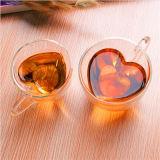 Forme de coeur cuvette en verre double paroi avec poignée pour le thé/café