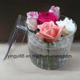 Caixa redonda acrílica desobstruída/branca/da caixa acrílica Rosa do preto da flor