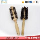 Une poignée ronde en bois professionnel brosse à cheveux de laminage à poils de sanglier (JMHF-91)