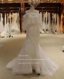Super calidad Mermaid Guarnecido de encaje vestido de novia con mantón