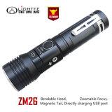 Zoomable, USB ricaricabile, testa registrabile, torcia elettrica di Multitask in alti lumen 800lm 1312 piedi di distanza per caccia, accampantesi, hobby del fascio di guida di notte