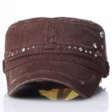 New Lady Rhinestones Moda Militar Army Street Leisure Caps