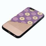 Caja del teléfono móvil de la goma TPU de la PU de las flores para el iPhone 6s