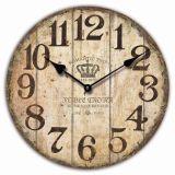 La decoración del hogar de promoción de madera Antiguo reloj de pared Reloj de cuarzo de trama