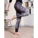 La impresión digital negro deporte gimnasio yoga pantalones Polainas (3033)