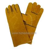 De blauwe Handschoen van het Werk van de Veiligheid van de Handschoenen van het Lassen van het Leer van de Koe Gespleten