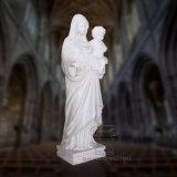 Estátua de mármore branco de Santa Maria e o Menino Jesus, escultura religiosa