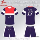 Le plus défunt modèle de Healong folâtre les uniformes juniors du football de sublimation faite sur commande d'habillement de vitesse