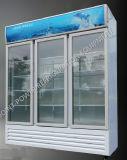 좋은 품질 3개의 유리 문 냉장고 음료 진열장 냉장고 전시
