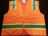 Laranja da gripe da veste da segurança com a faixa reflexiva do cuidado