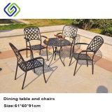 Почищенная щеткой алюминиевая обедая таблица и мебель стула напольная