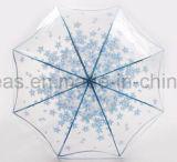 투명한 C 모양 손잡이 수동 반전 똑바른 차 우산